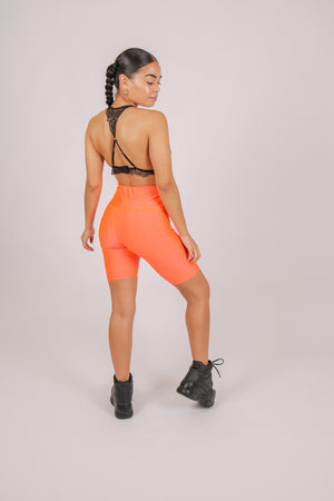 Yeah, We Thought So 'Neon Orange Satin Biker Shorts'