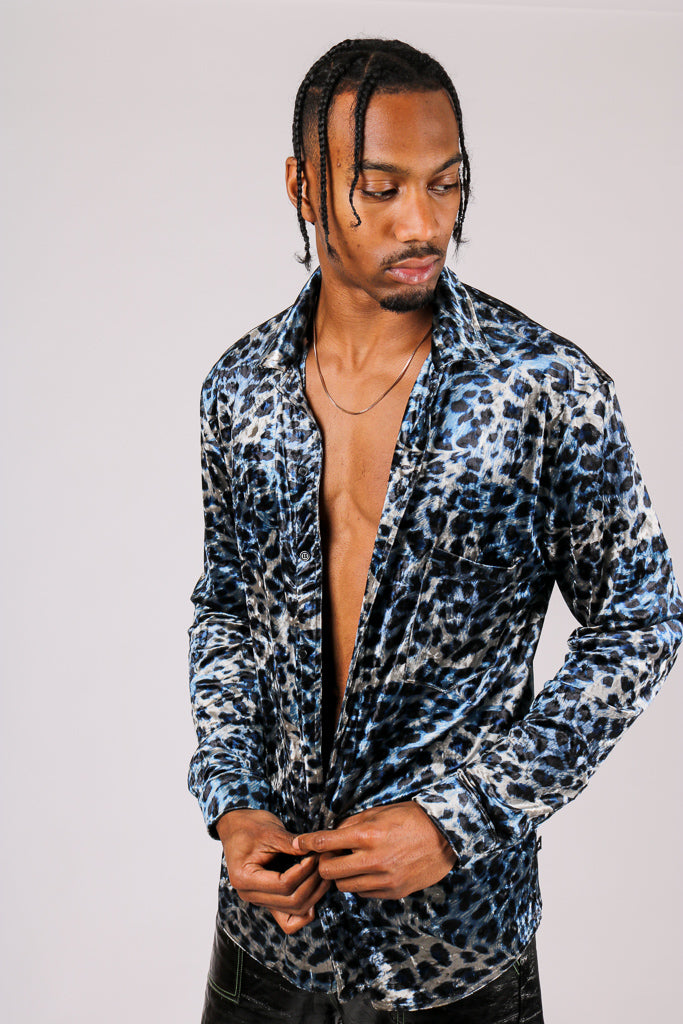 Current Mood: 'Long Sleeve Party Shirt In Blue Faux Suede Leopard'