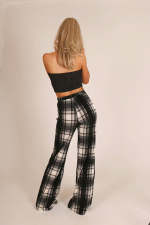 Check Mate 'Checkered Flared Trouser'