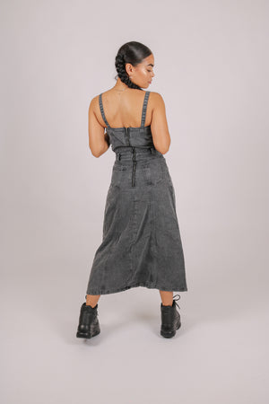 For Your Daytime Thing 'Midi Corset Dress With Full Skirt In Denim'