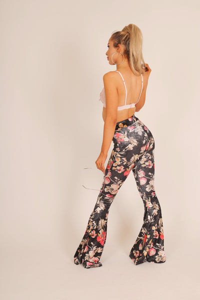 Blooming Lovely 'Flare Trousers In Velvet Floral Co-Ord'