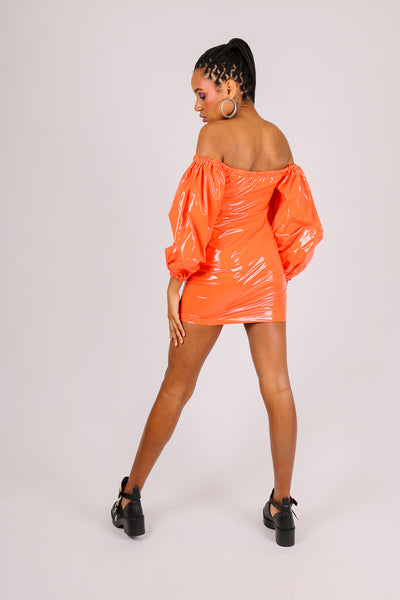 It's Already Got Your Attention 'Off Shoulder Ruched Mini Dress With Balloon Sleeves In Vinyl'