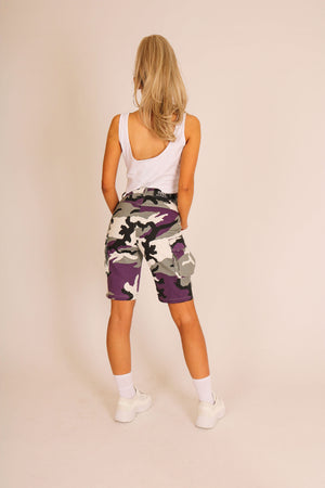 Camouflage In With The Berries 'Purple Camo Cargo Shorts'