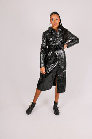 It's Already Got Your Attention 'Belted Trench Coat In Black Faux Croc'