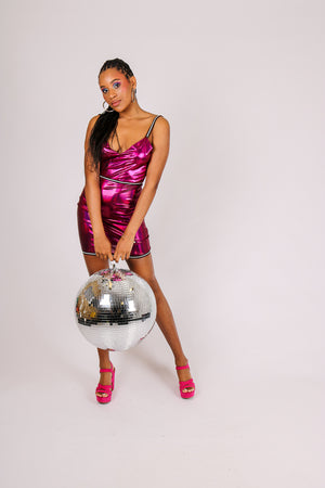 It's Already Got Your Attention 'Diamante Trim Pink Chrome Bodycon Dress'