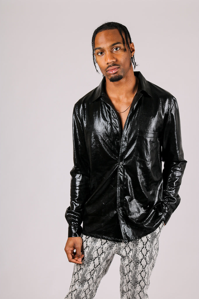 It's Already Got Your Attention 'Long Sleeve Party Shirt In Black Metallic'