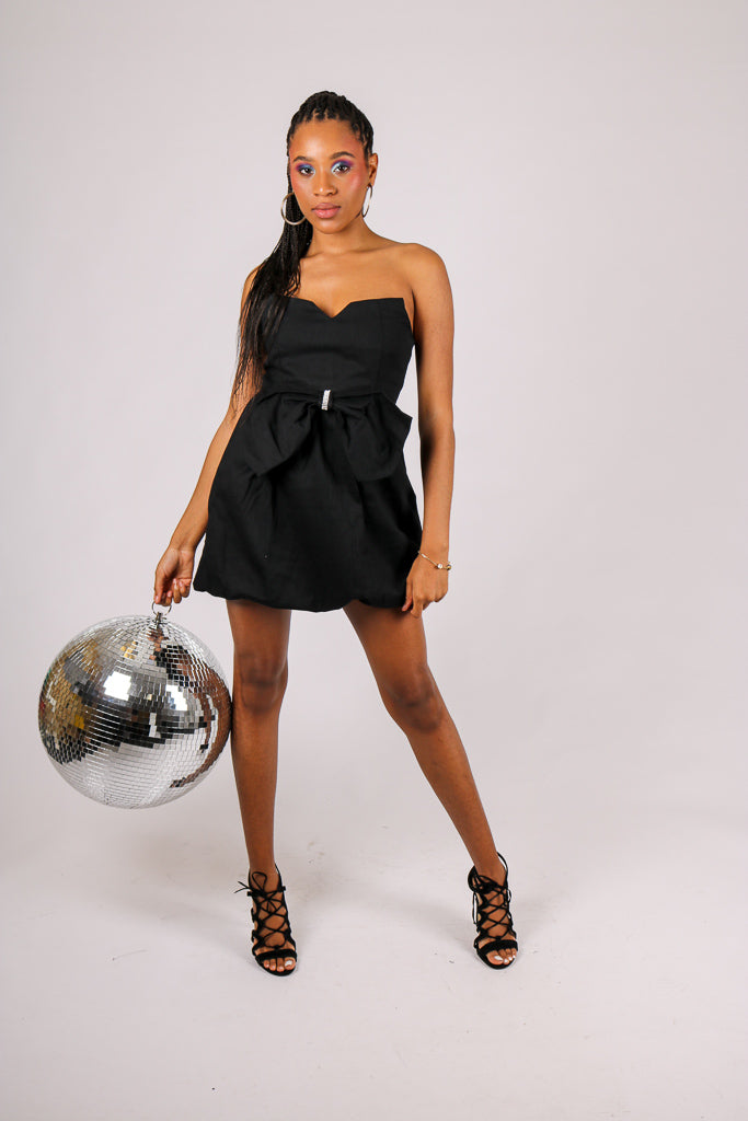 Worth Making Plans For - 'Black Mini Dress With Diamante & Front Bow'