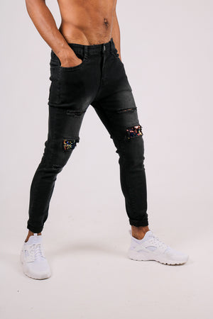 Add Them To Your Everyday Line Up 'Black Skinny Jean With Knee Rips & Gold Sequin Details'
