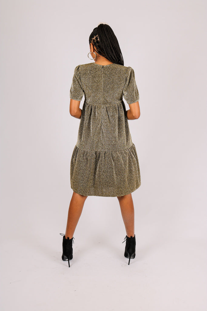 Add-To-Bag: Potential - 'Tiered Midi Dress In Gold Sparkle Fabric'