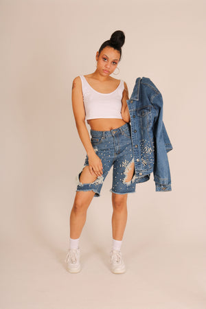 Denim Boyfriend Shorts With All Over Embellishment