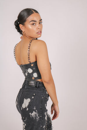 Yeah, We Thought So 'Bandeau Top With Chain Straps In Paint Splatter Denim'