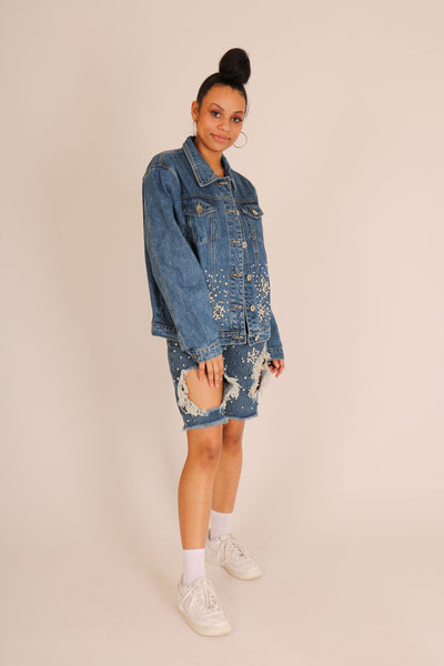 Denim Jacket With All Over Embellishment