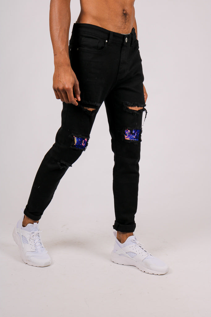 Add Them To Your Everyday Line Up 'Black Skinny Jean With Knee Rips & Blue Sequin Details'