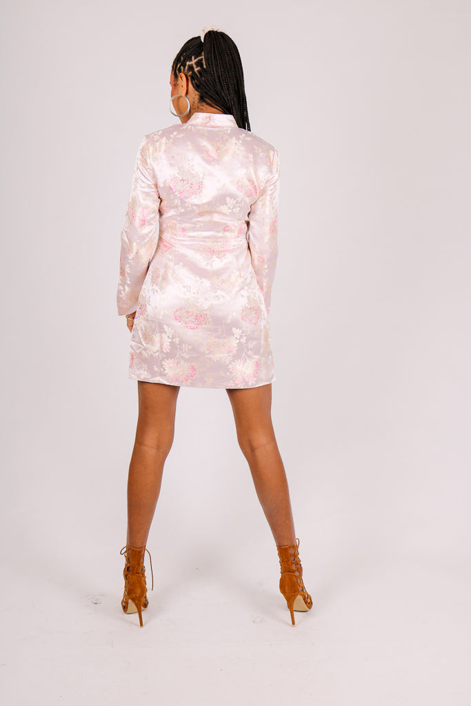 A Little Extra 'Floral Jacquard Wrap Mini Dress'