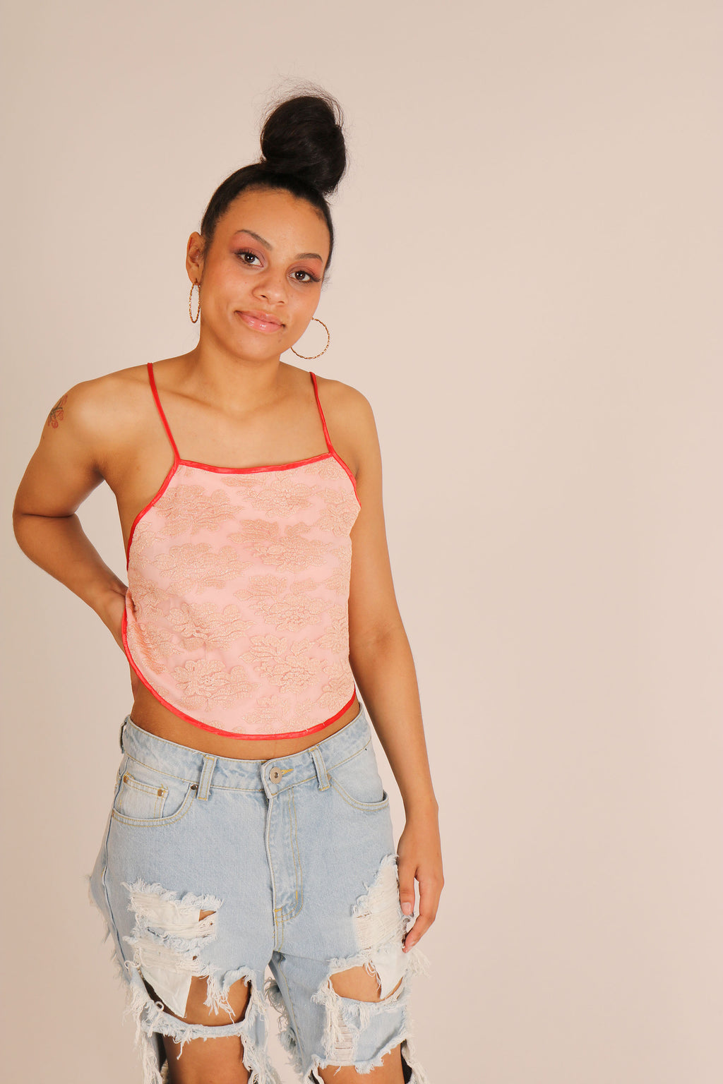 Pink Lace Mesh Crop Top With Pompom Lace Up Back