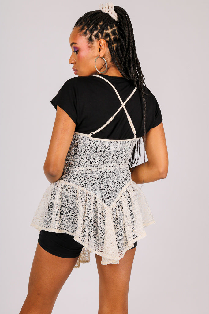 Add-To-Bag Potential: Considerable 'Cami Top With Frill Hem In Lace'