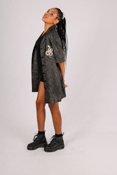 For Your Daytime Thing 'Relaxed Shirt Dress With Snake Moon Embroidery'