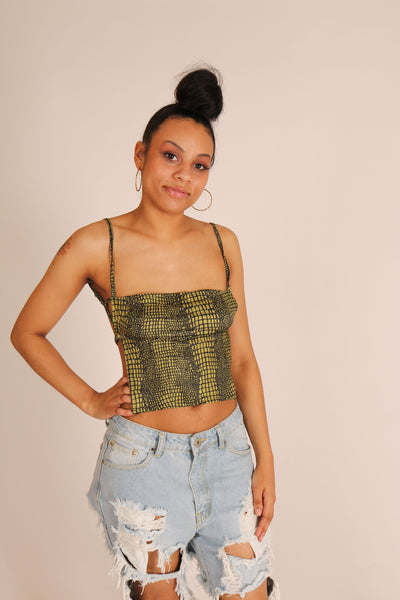 Dont Bite - Croc print cut out top