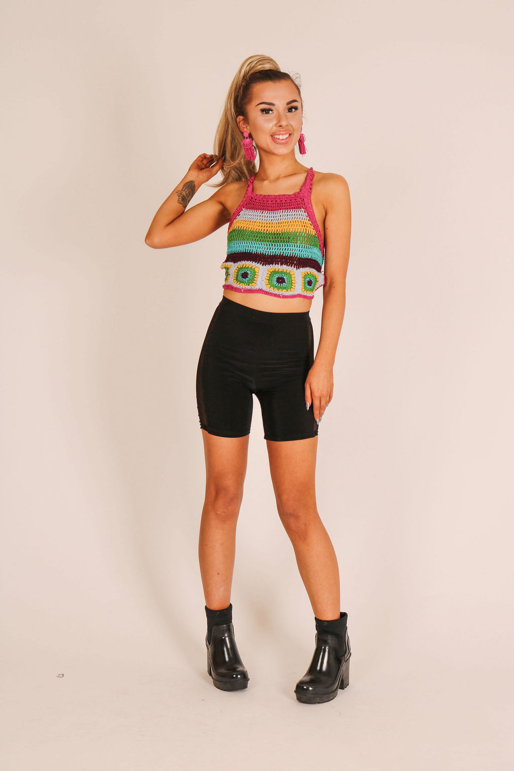 This Is A Bit Of You 'Crop Top In Rainbow Stripe Crochet Knit'