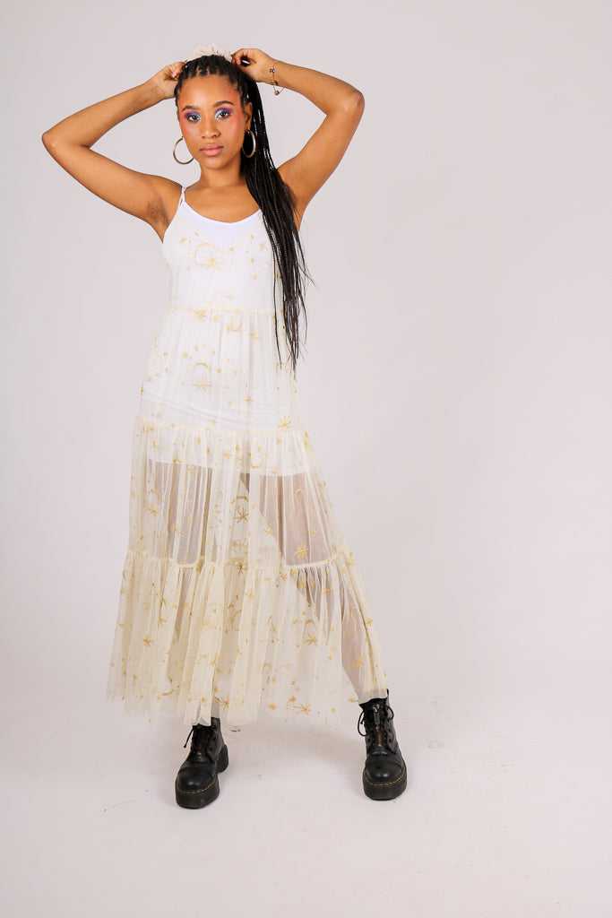 Add To Basket 'Sheer Maxi Moon/Star Print Dress'