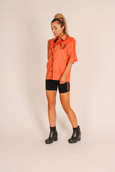 Yeah, We Like This One, Too 'Retro Revere Collar Shirt With Embroidery'