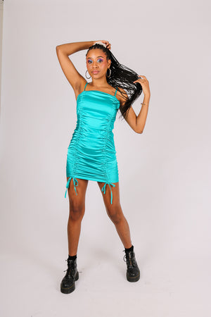 Fits You Just Right 'Blue Satin Mini Dress With Rouching'