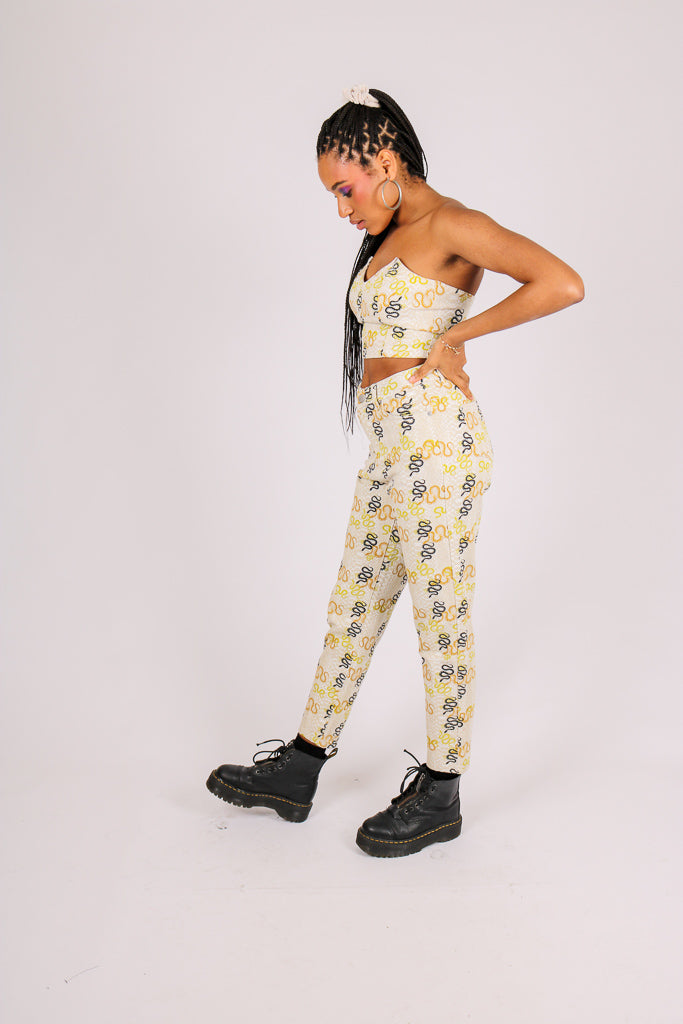 Part Of A Co-ord 'High Waist Mom Jeans In Snake Print Denim'