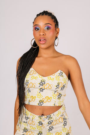 Part Of A Co-ord 'Crop Bandeau Crop Top In Snake Print Denim'