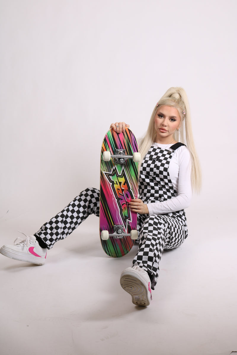 Check Mate 'Checkboard Printed Dungaree'