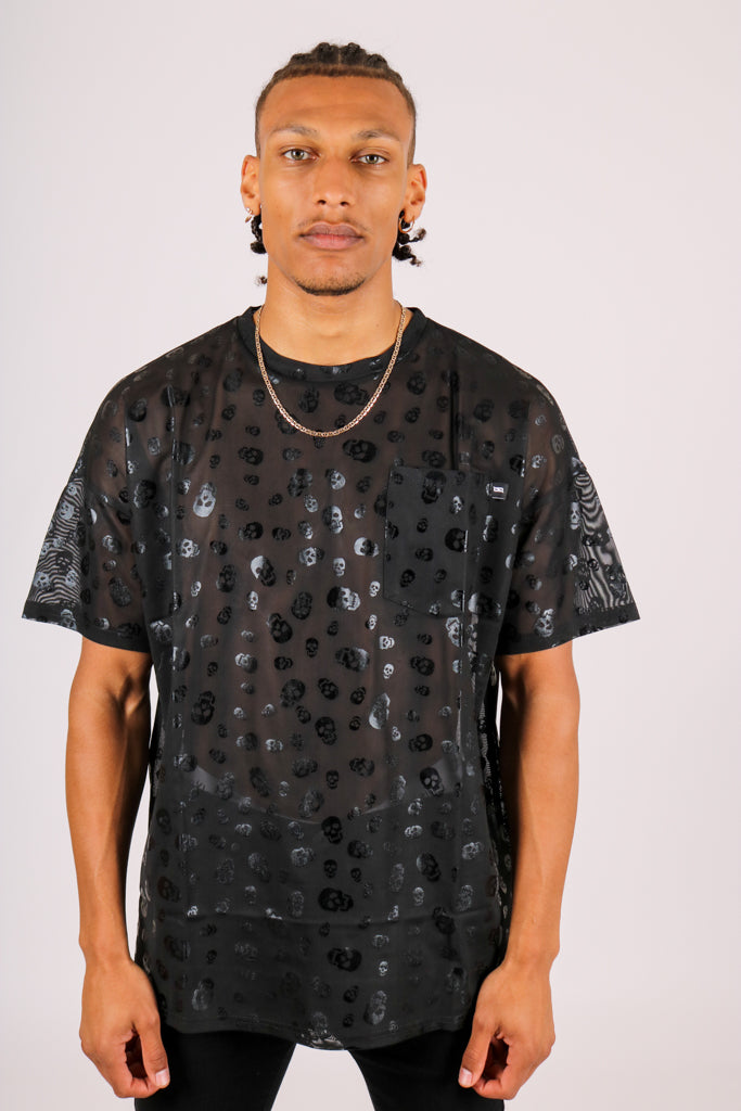 Check Your Saved Items 'Skull Printed Black Mesh T-Shirt'