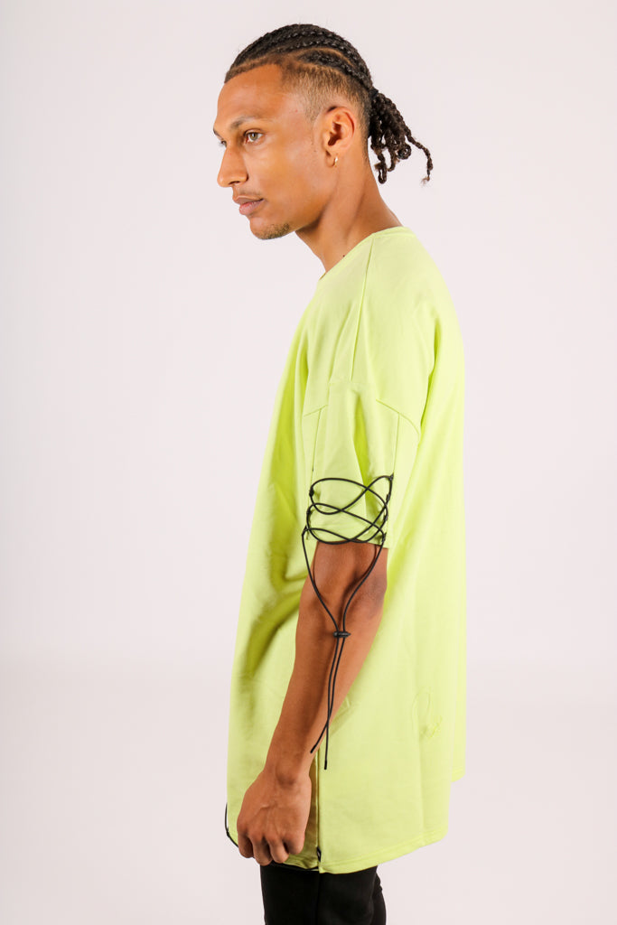 In Your Chills 'Oversized Lime T-Shirt With String Work'