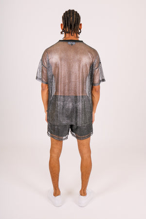Check Your Saved Items 'Metallic Black Mesh Shorts'