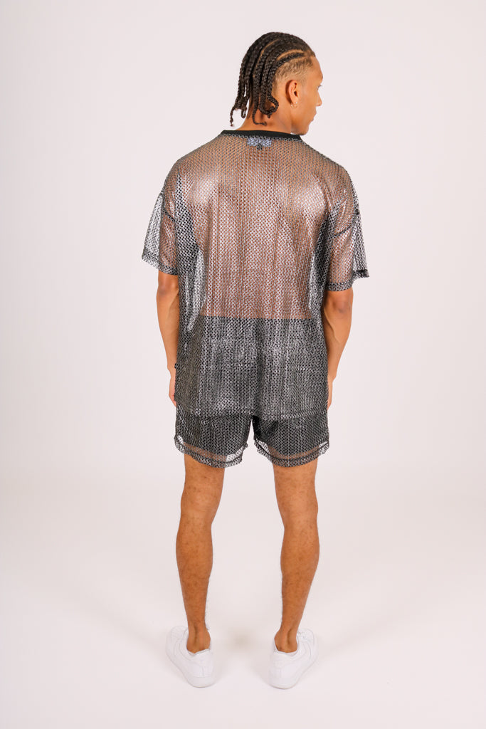 Check Your Saved Items 'Oversized Metallic Mesh T-Shirt'