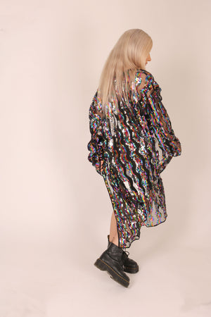 Some Days Call For A Little Extra 'Maxi Kimono In Stripe Sequin'