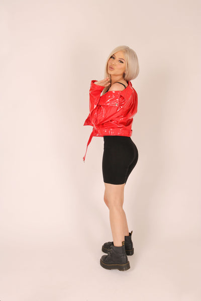 Chilli Red Vinyl Biker Jacket
