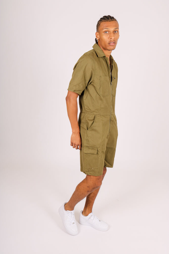 All For The All In One 'Khaki Denim Shorts Jumpsuit'