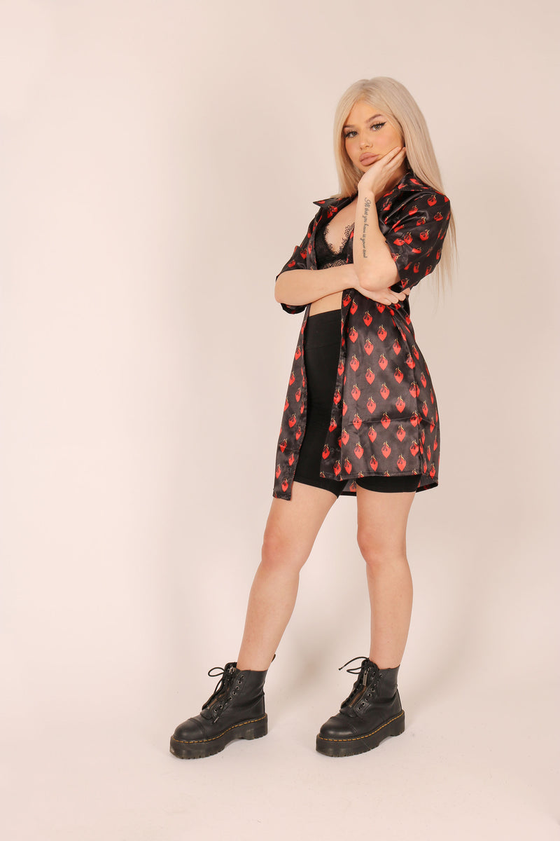 One For Your Wardrobe 'Relaxed Shirt Dress In Flaming Hearts Print Satin'