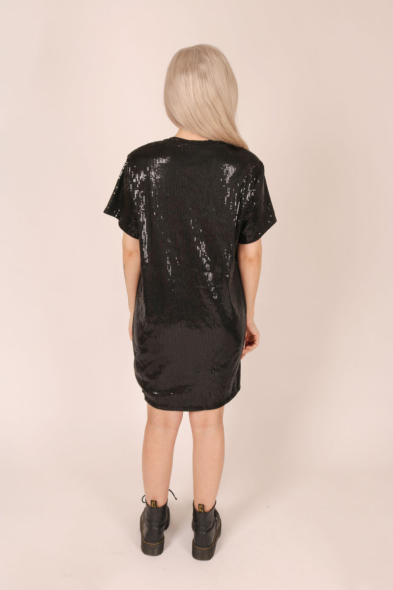 Oversized T-shirt Dress In Printed Sequin 'Tough Luck'