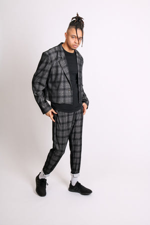 For That Thing You Have To Go To 'Dark Grey Check Tailored Trouser'