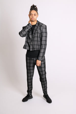 For That Thing You Have To Go To 'Dark Grey Check Cropped Blazer'