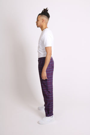 Put The Jeans Away For The Day 'Purple Check Tailored Trouser'