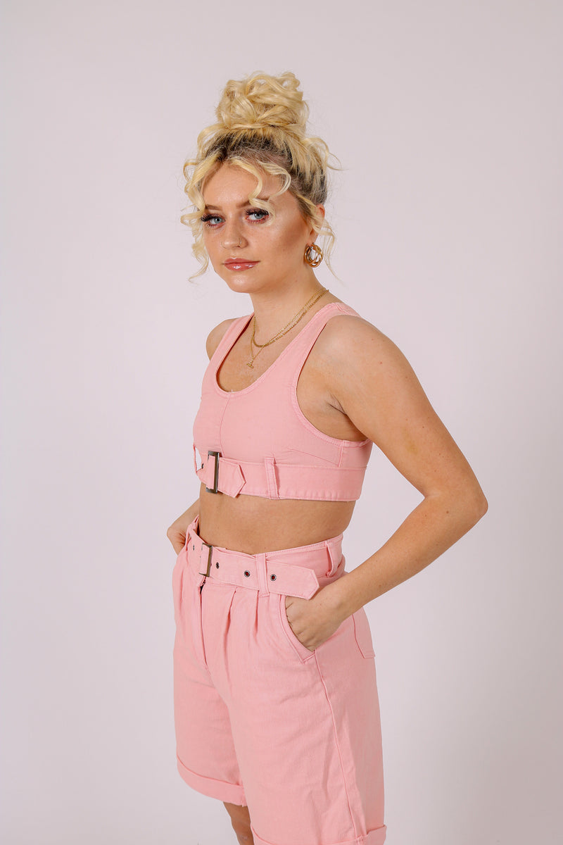 Part Of A Co-ord Set 'Ultra Crop Top In Pink'