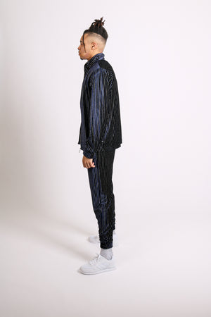 For Your Daytime Thing 'Gold & Navy Velour Pinstripe Tracksuit'