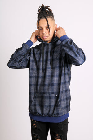 Throw On & Go 'Blue Check Oversized Hoodie'