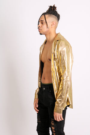 Current Mood: 'Long Sleeve Party Shirt In Gold Metallic'