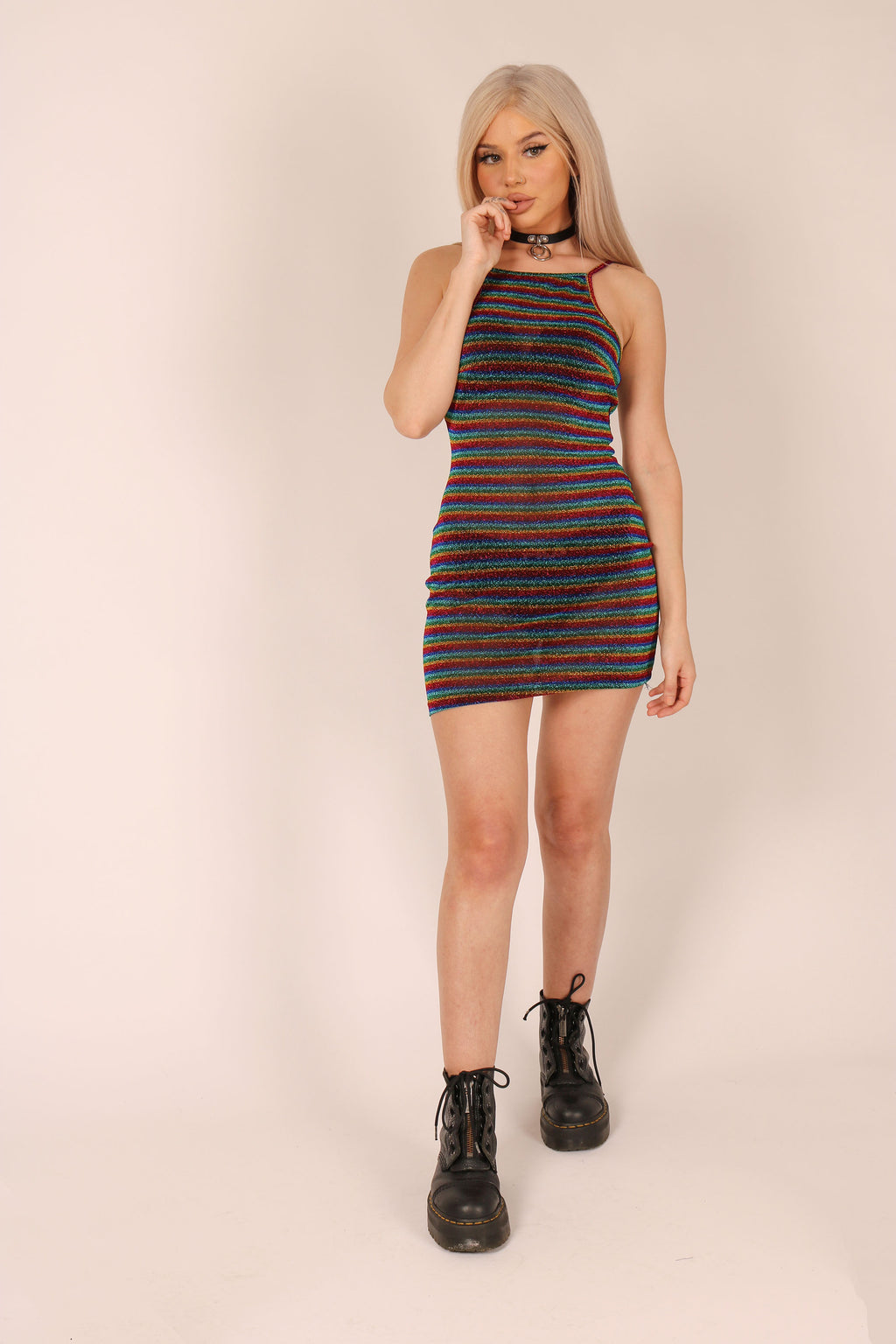 Time To Shine '90's Cami Dress In Rainbow Mesh'