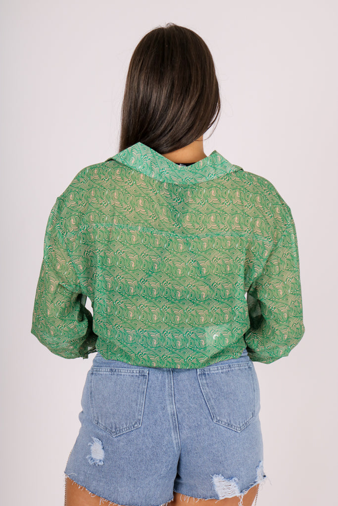 The Thing You Didn't Know You Wanted '90s Sheer Swirl Printed Green Shirt'