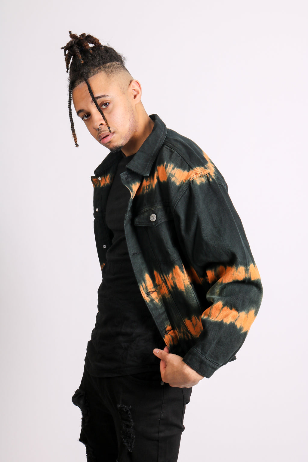 Add It To Your Everyday Line Up 'Black & Orange Tie Dye Denim Jacket'