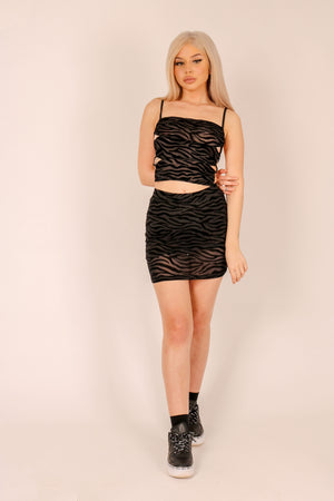 Not Just Your Average Print 'Skirt In Flocked Zebra'
