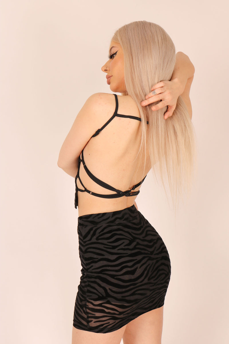 Not Just Your Average Print 'Strappy Top In Flocked Zebra'